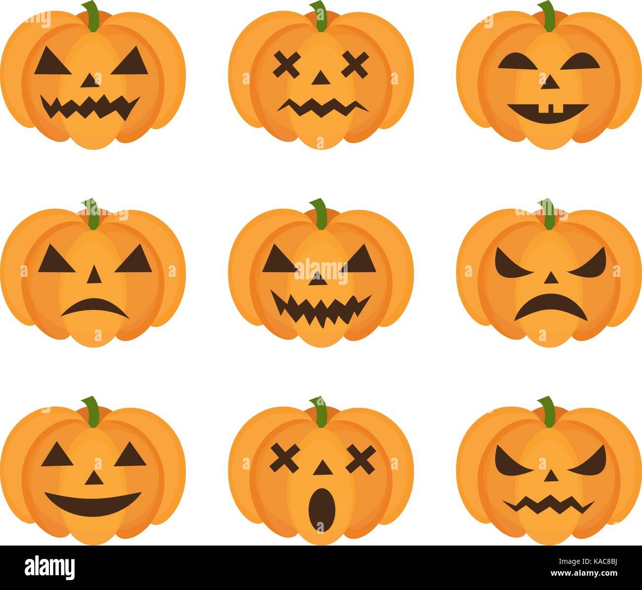 Calabaza de Halloween con conjunto de iconos emoji. scary emoticonos calabazas colección. aislado sobre fondo blanco. Ilustración del Vector