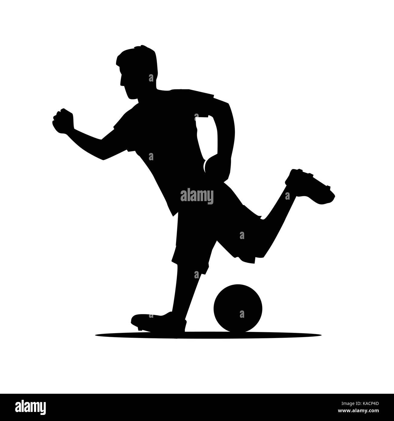 Disparar A Un Jugador De Pelota Silueta Jugador De Fútbol Con Balón
