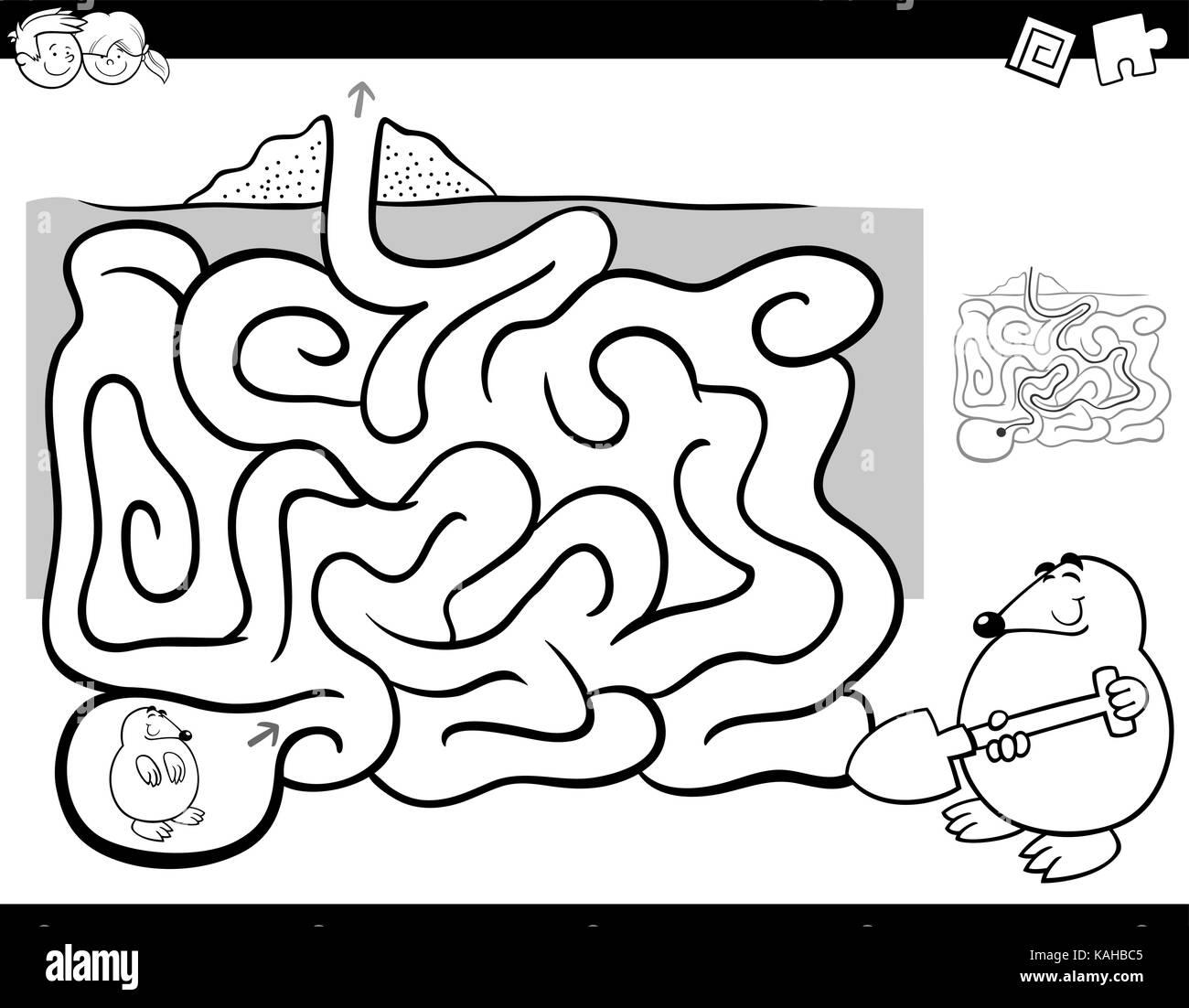 Ilustración caricatura en blanco y negro de la educación LABERINTO ...