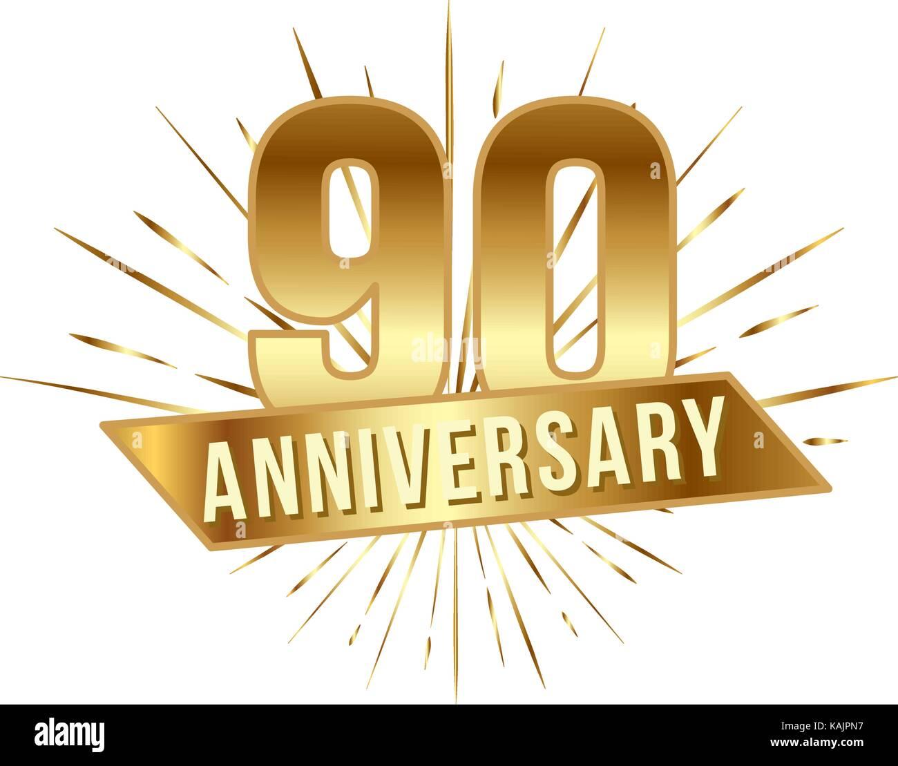 Aniversario Número 90 Años De Oro 90 Años Con El Logotipo Y