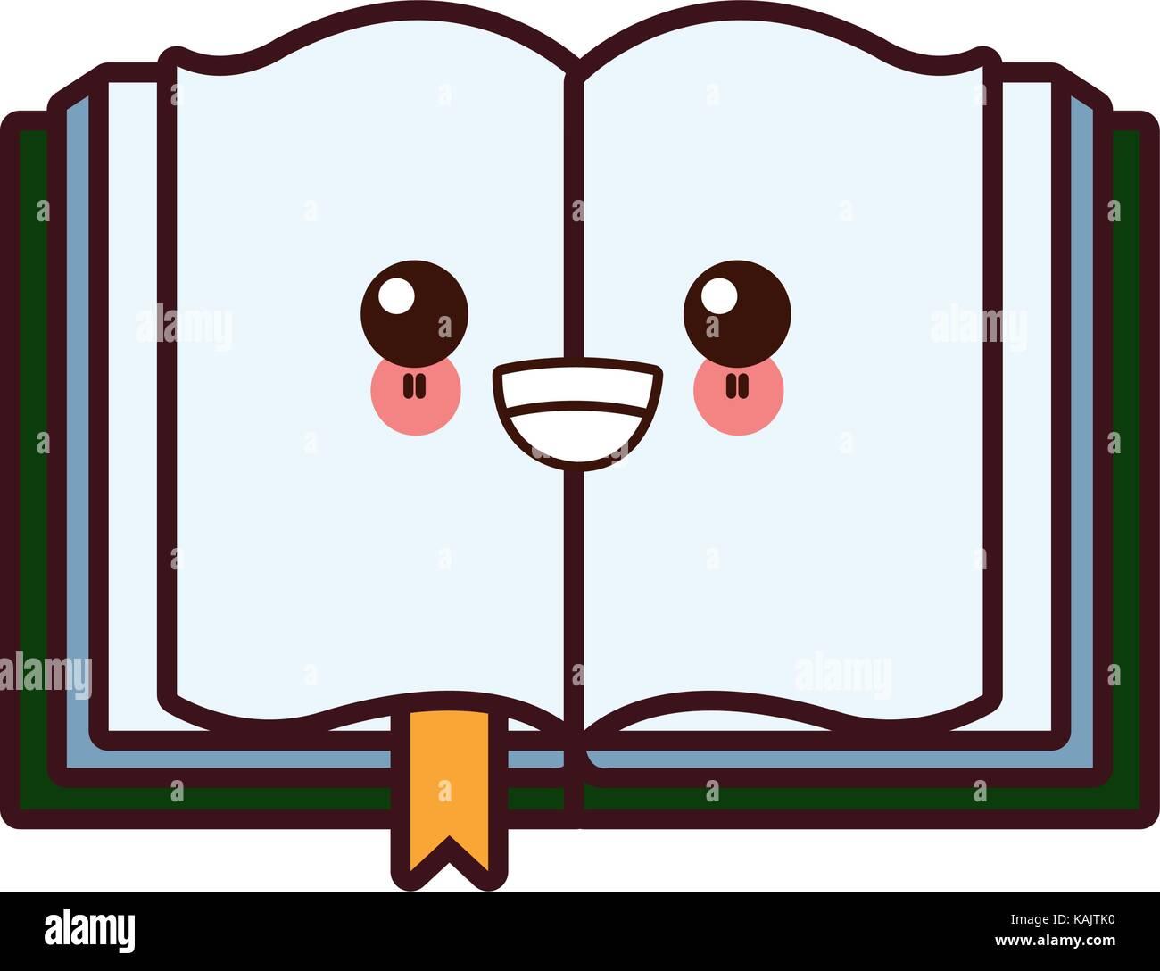 Símbolo De Libro Abierto Kawaii Cartoon Ilustración Del Vector