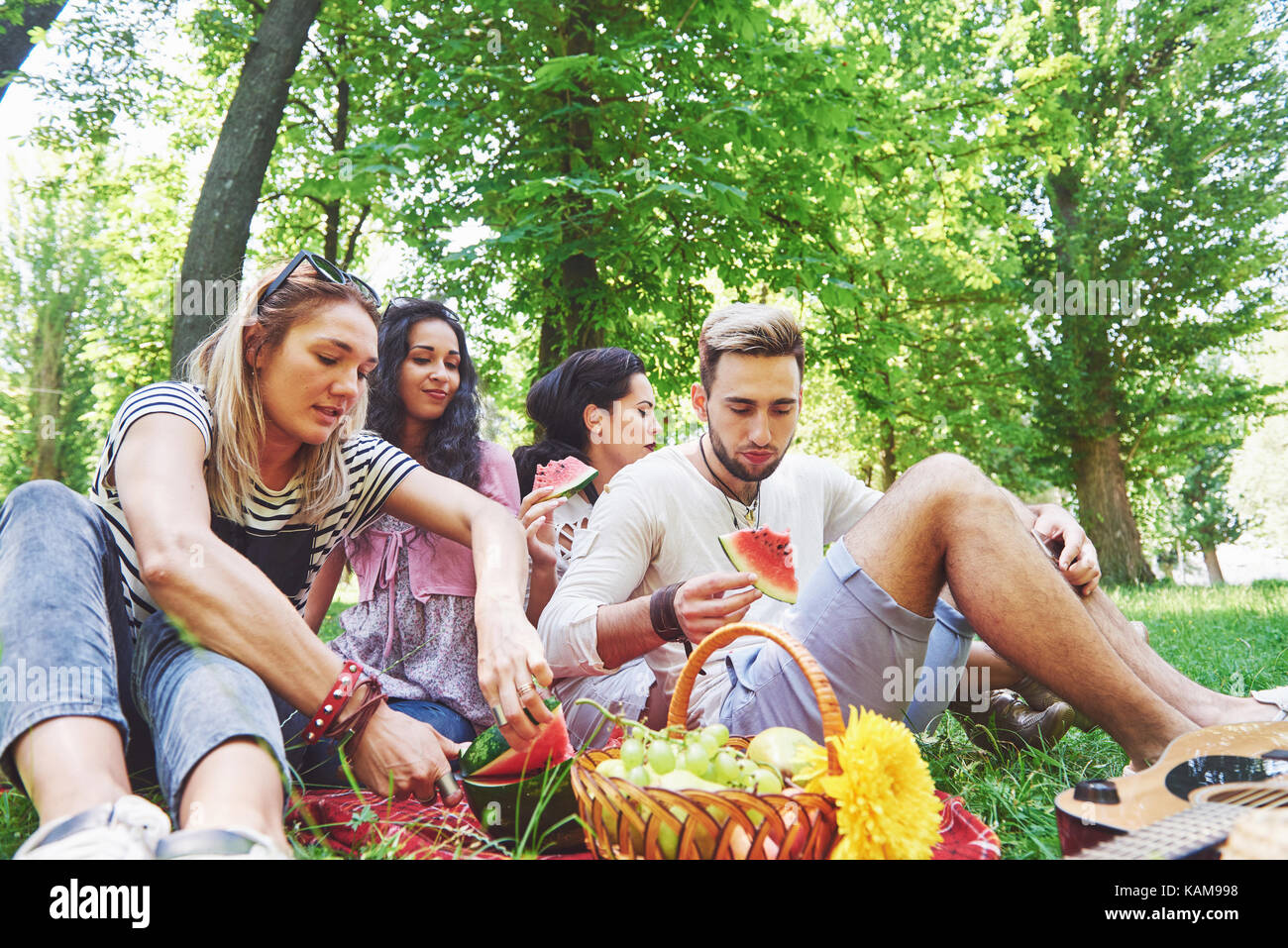 Grupo de amigos tener pic-nic en un parque en un día soleado - gente colgando fuera, divirtiéndose mientras Imagen De Stock