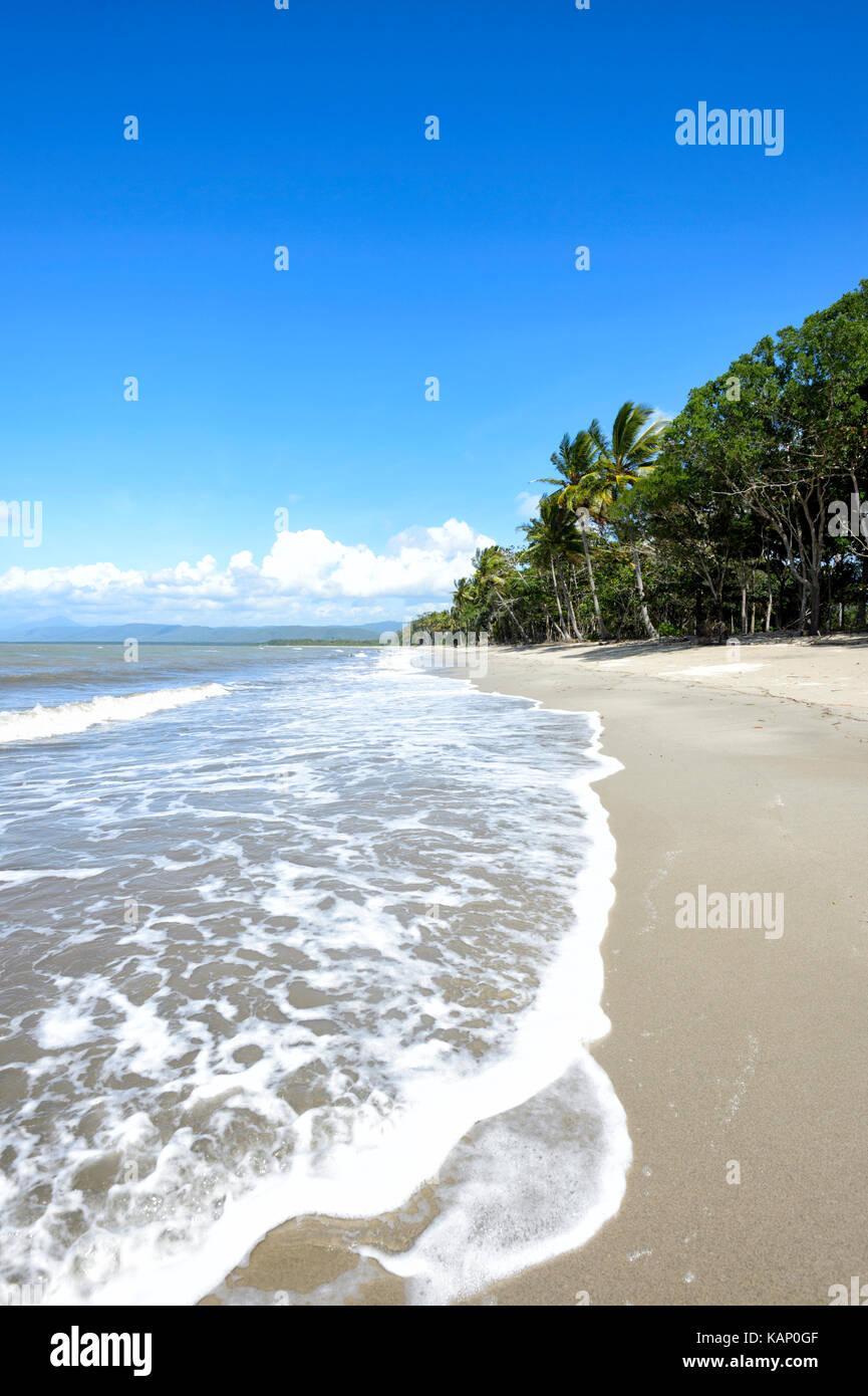 Exótica playa desierta, Newell Beach, Far North Queensland, FNQ, Queensland, Australia Foto de stock