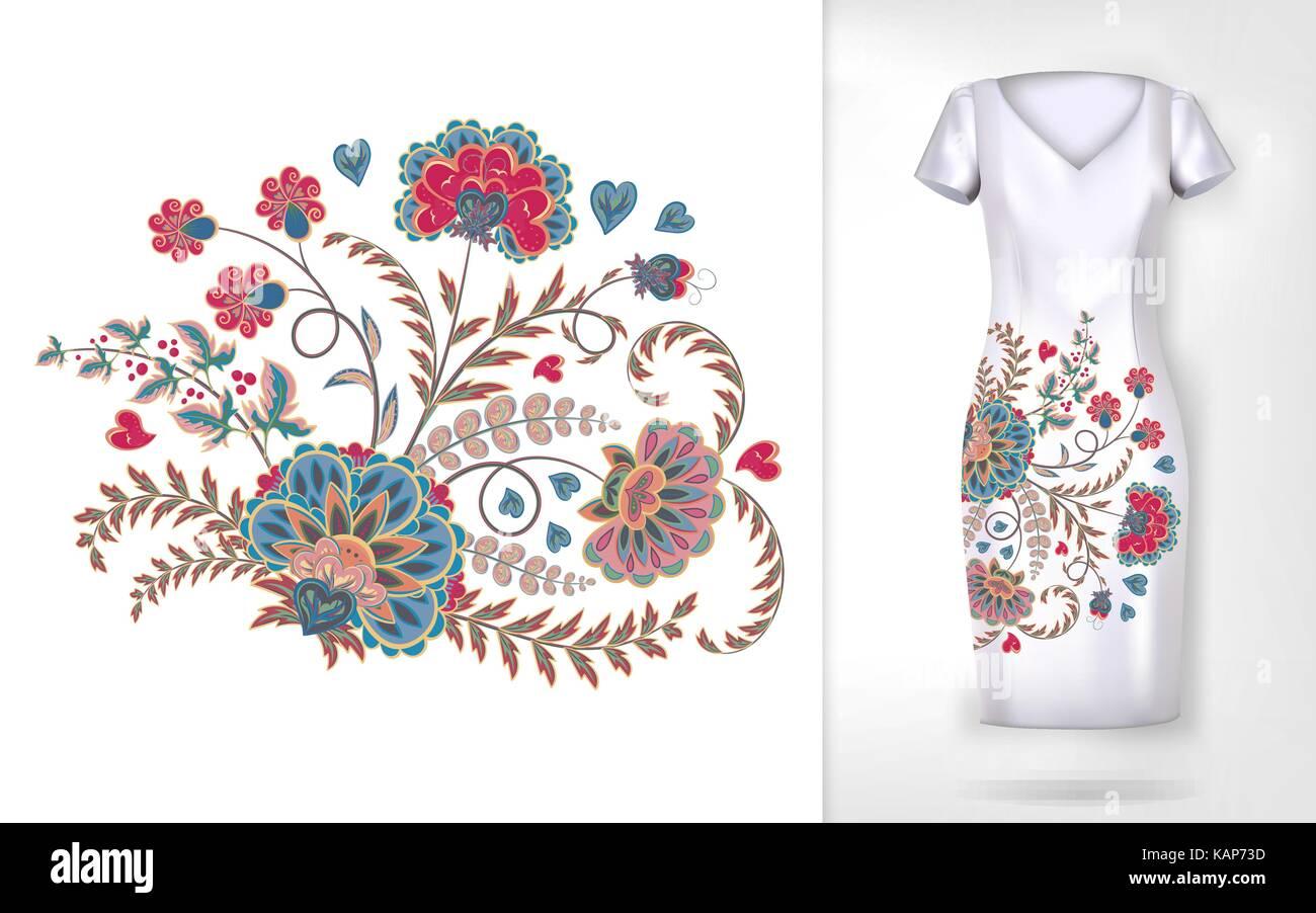Tendencia coloridos bordados florales. vector flores ornamentales ...