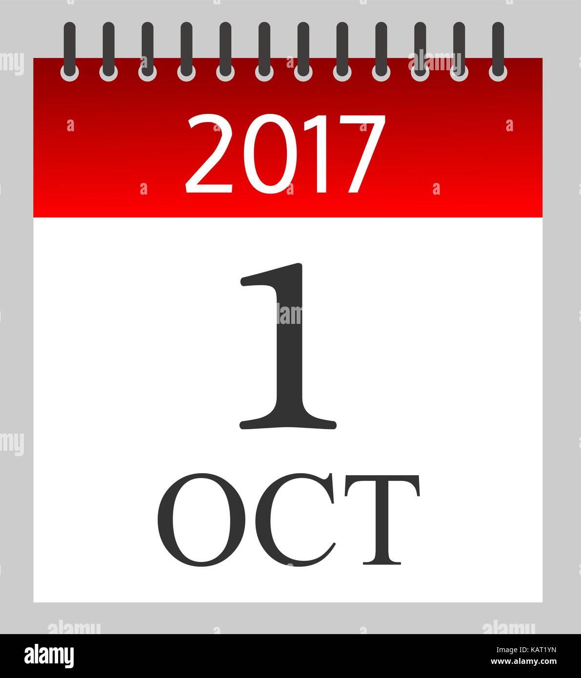 Calendario Diario.El 1 De Octubre De 2017 Calendario Diario Ilustracion
