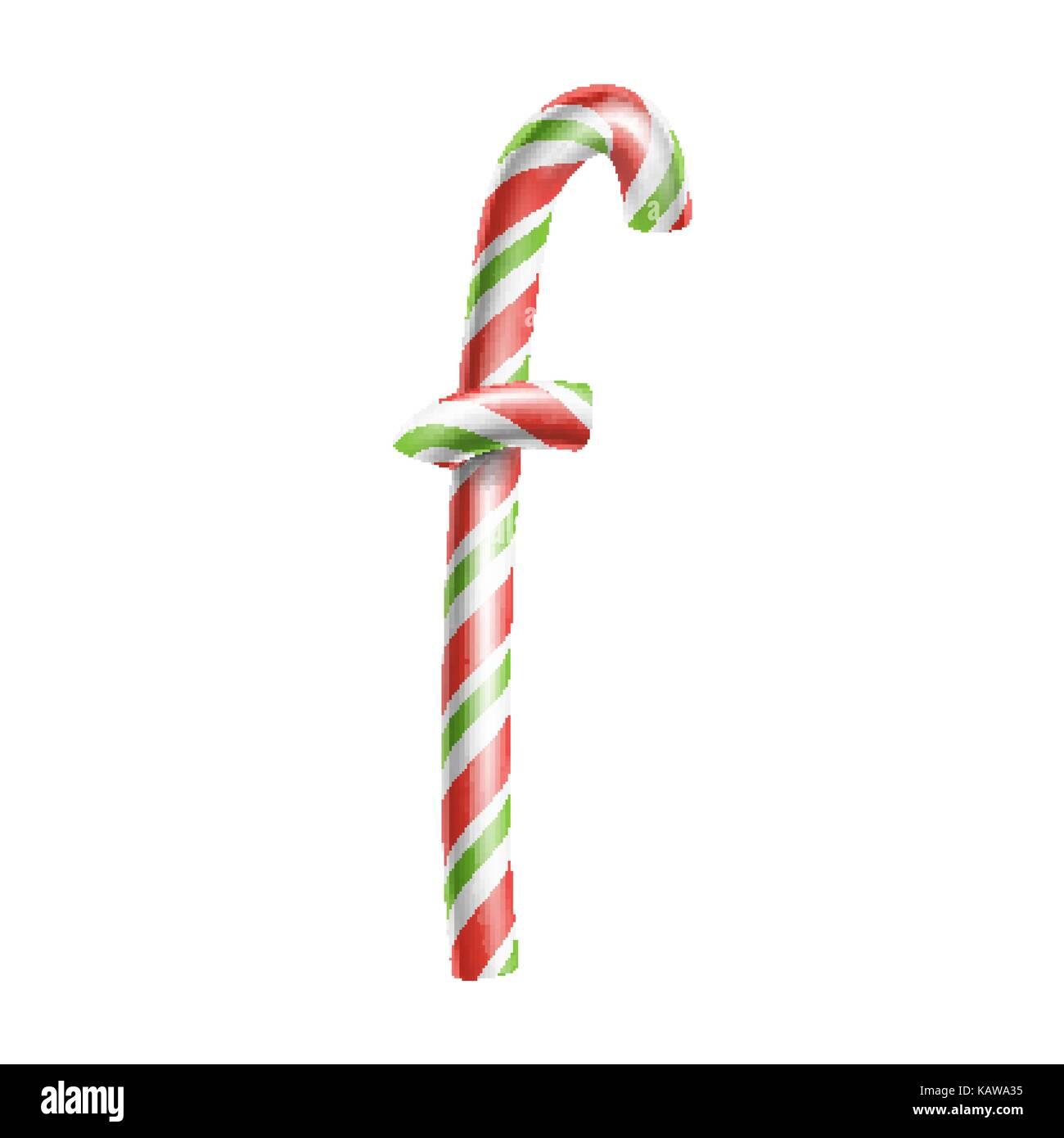 Letra f vector. 3D realista candy cane símbolo del alfabeto en ...