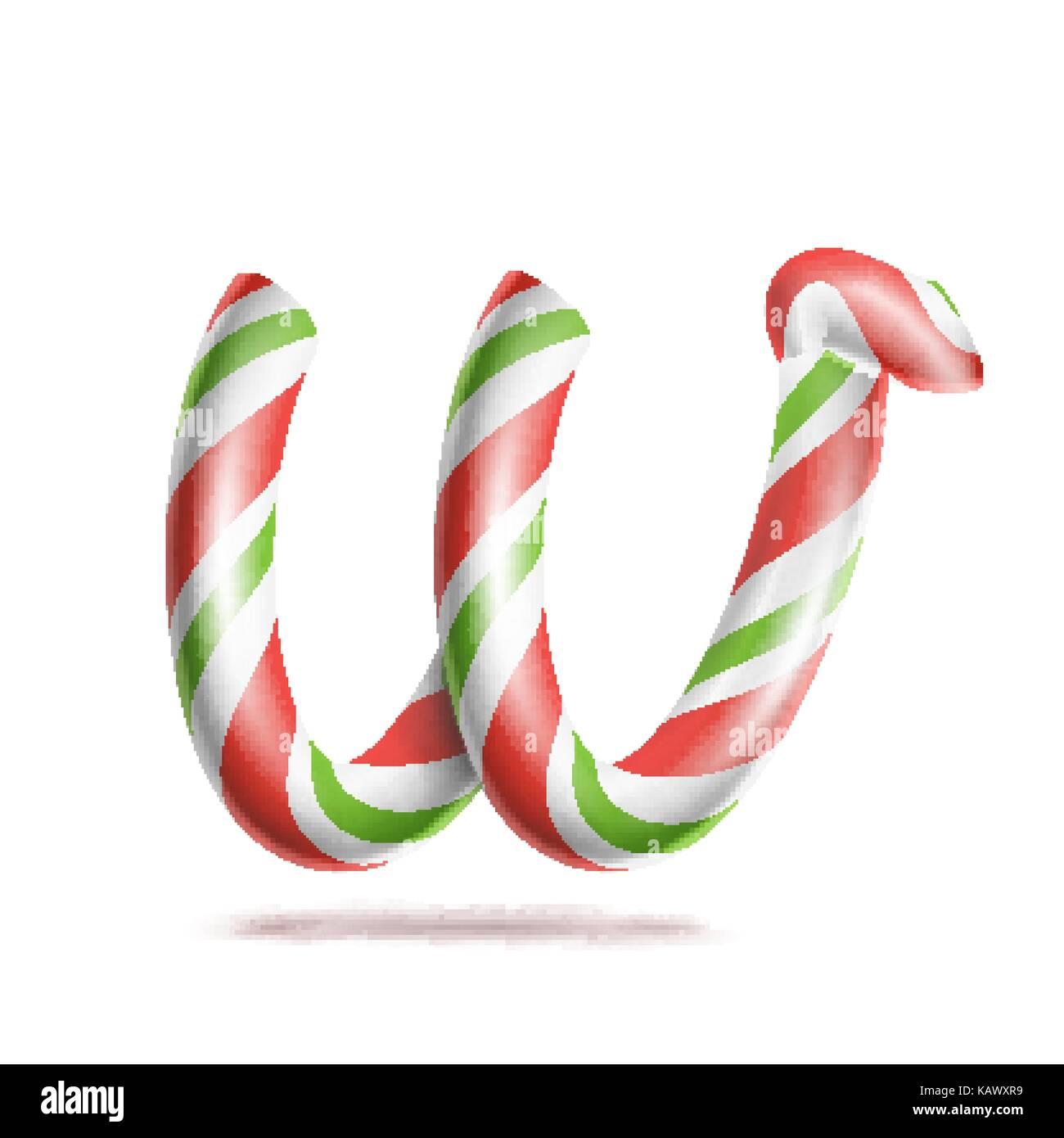 Letra w vector. 3D realista candy cane símbolo del alfabeto en ...