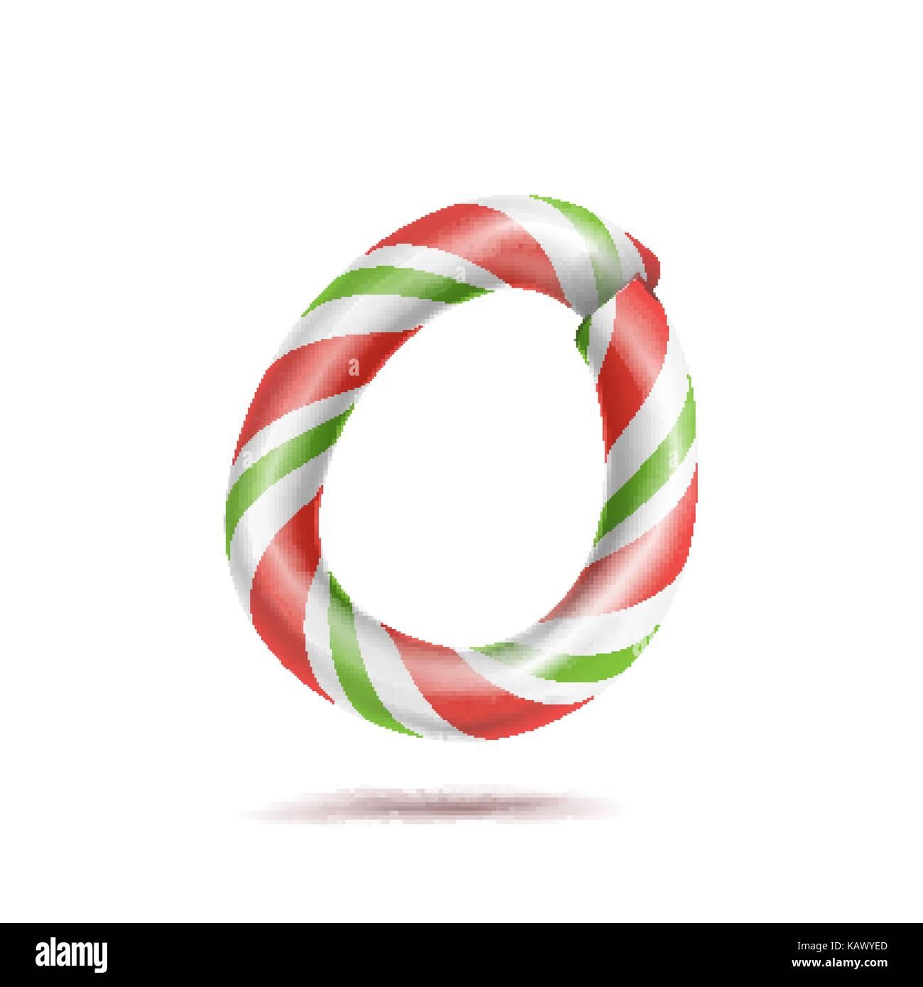 Letra o vector. 3D realista candy cane símbolo del alfabeto en ...