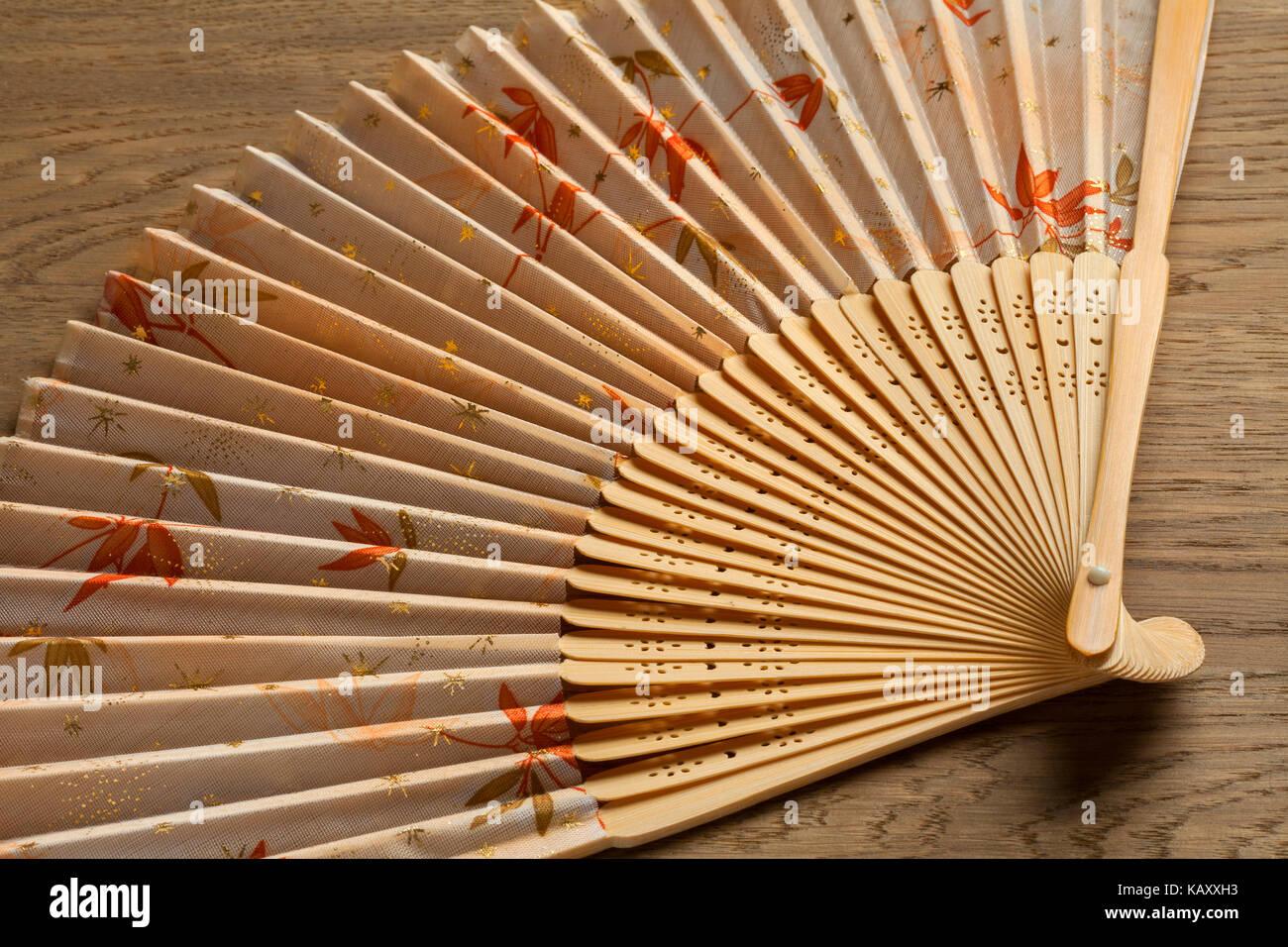 Ventilador de mano japonesa tradicional decorado con hojas de arce en otoño Imagen De Stock