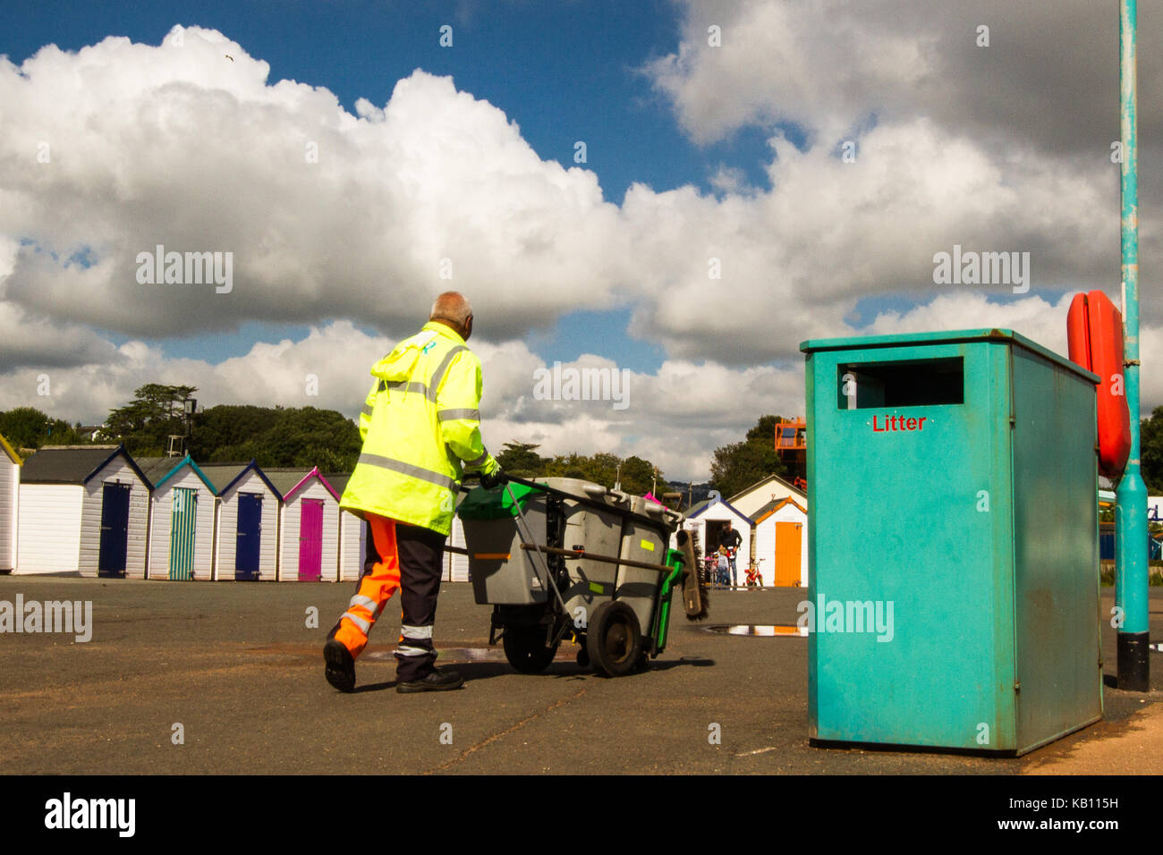 Seaside Beach basura basura recogida, gestión de residuos Imagen De Stock