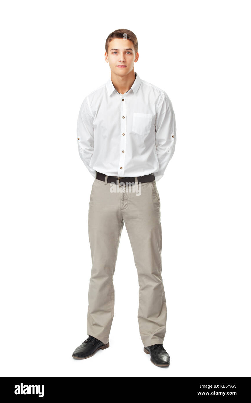 Hombre Joven De Moda Atractivo Vestido Con Una Camisa Blanca