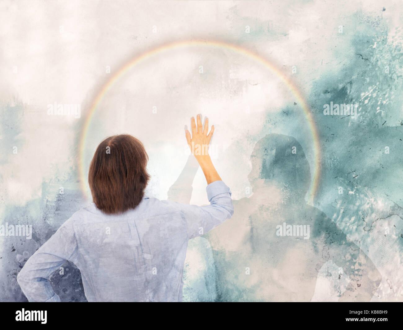 Satisfacción personal,superar la adversidad concepto. alta cinco con sombra. Imagen De Stock