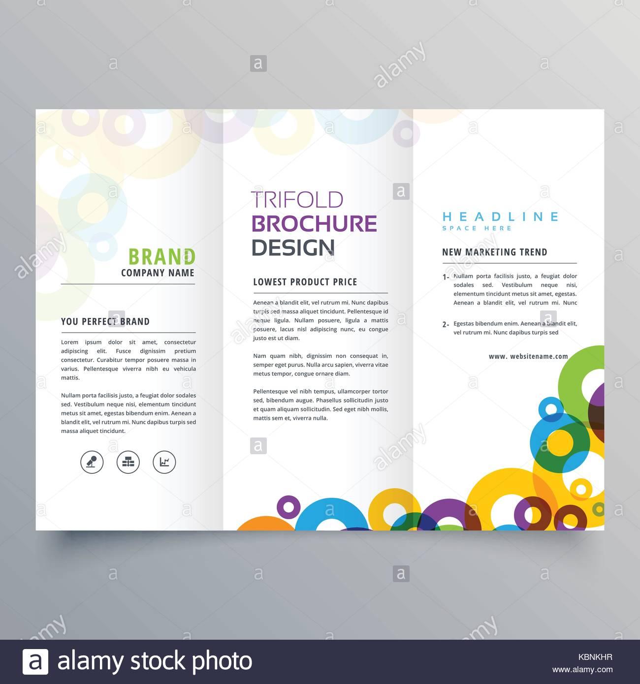 Círculos colorido folleto plegado triple de negocios plantilla de ...