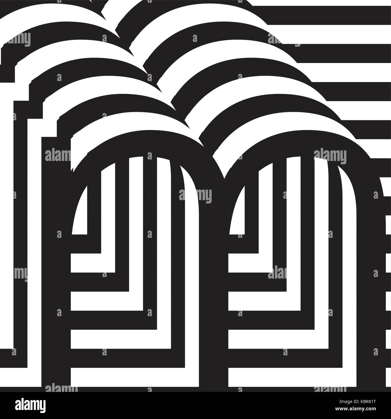 46abf946bfde Letra m en blanco y negro de la plantilla de diseño ilustración vectorial