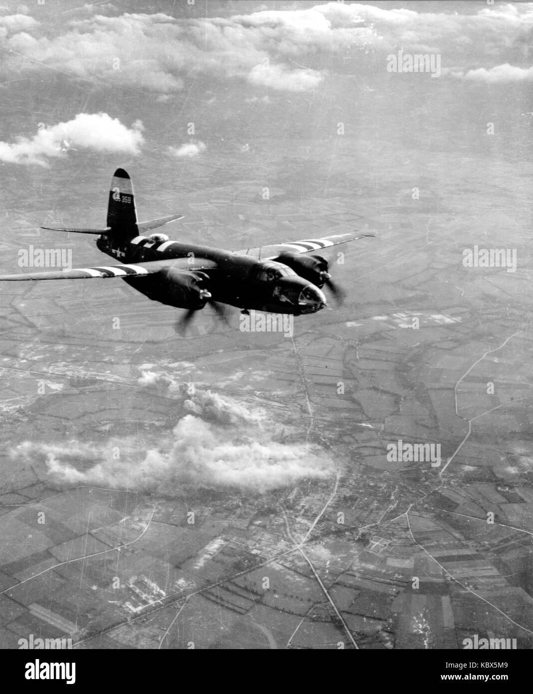 Martin b26 marauder. american avión bombardero en acción durante la II Guerra Mundial Foto de stock