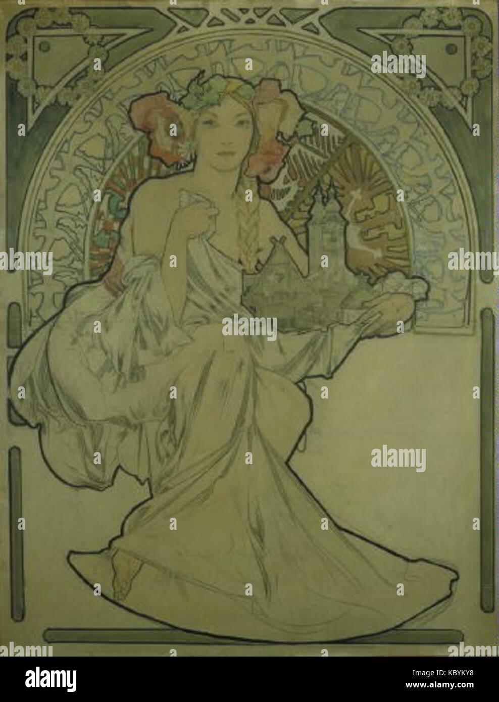 Autor Alfons Mucha 24.7.1860 14.7.1939 Navrh na plakat pro Vystavu architektury un inzenyrstvi V PRAZE Foto de stock