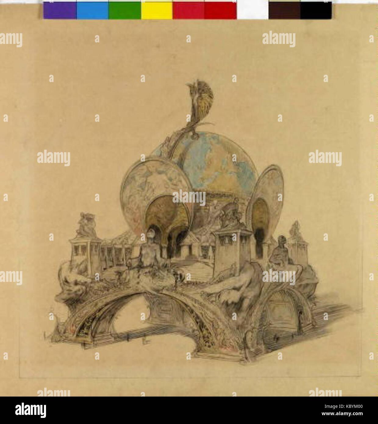 Autor Alfons Mucha 24.7.1860 14.7.1939 Navrh na Pavilon Svetovou vystavu cloveka pro v Parizi roku 1900 Foto de stock