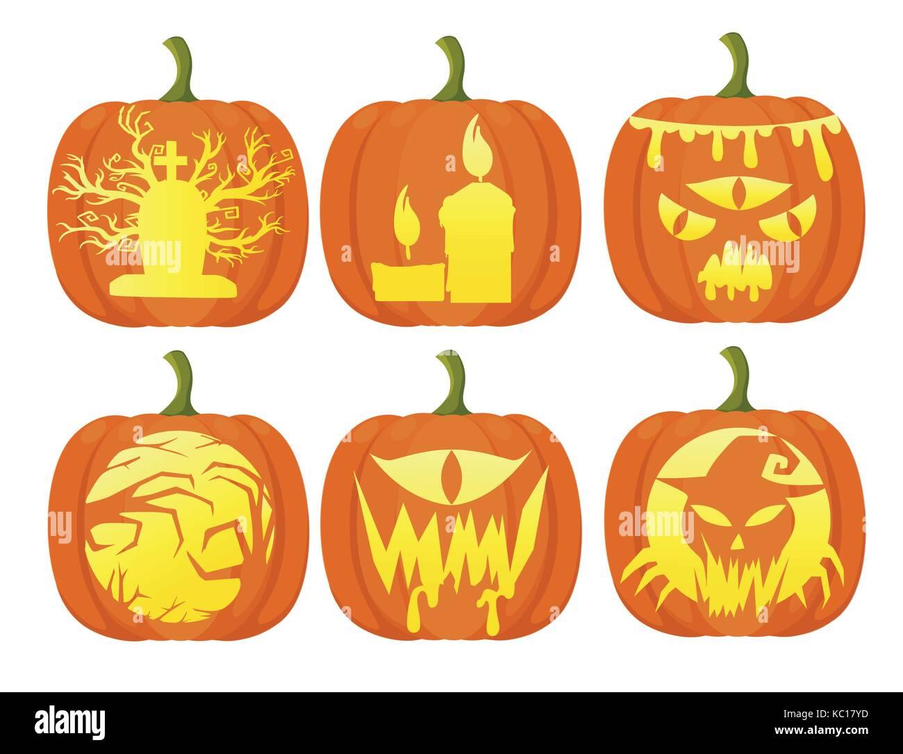 Establezca Las Calabazas Para Halloween Diseño Plano Fresco Estilo Cartoon Diferentes Hortalizas Página De Sitio Web Y Diseño De Aplicaciones Móviles Imagen Vector De Stock Alamy