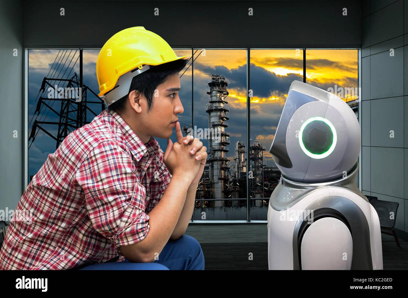 4.0 Tecnología de la industria de fabricación de la máquina de producción , robo advisor concepto. Derechos y servicios Foto de stock