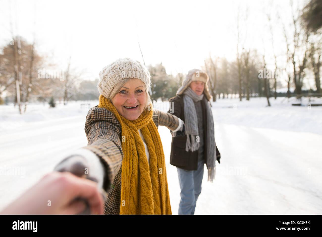 Las parejas ancianas en un soleado día de invierno naturaleza patinaje sobre hielo. Imagen De Stock