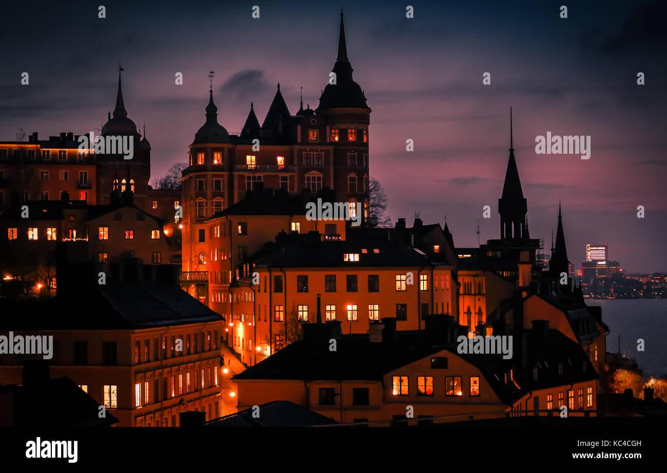 Atardecer, Sodermalm, Estocolmo, Foto de stock