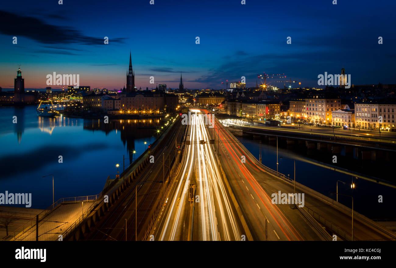 Estocolmo en la noche, Suecia, Foto de stock
