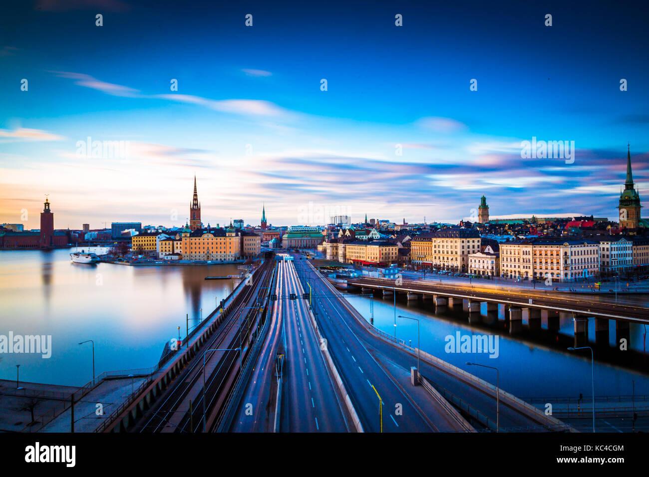 Estocolmo por la mañana, Suecia, Foto de stock