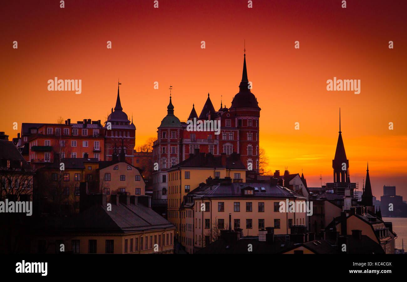Sunset, Sodermalm, Estocolmo, Sunset Foto de stock