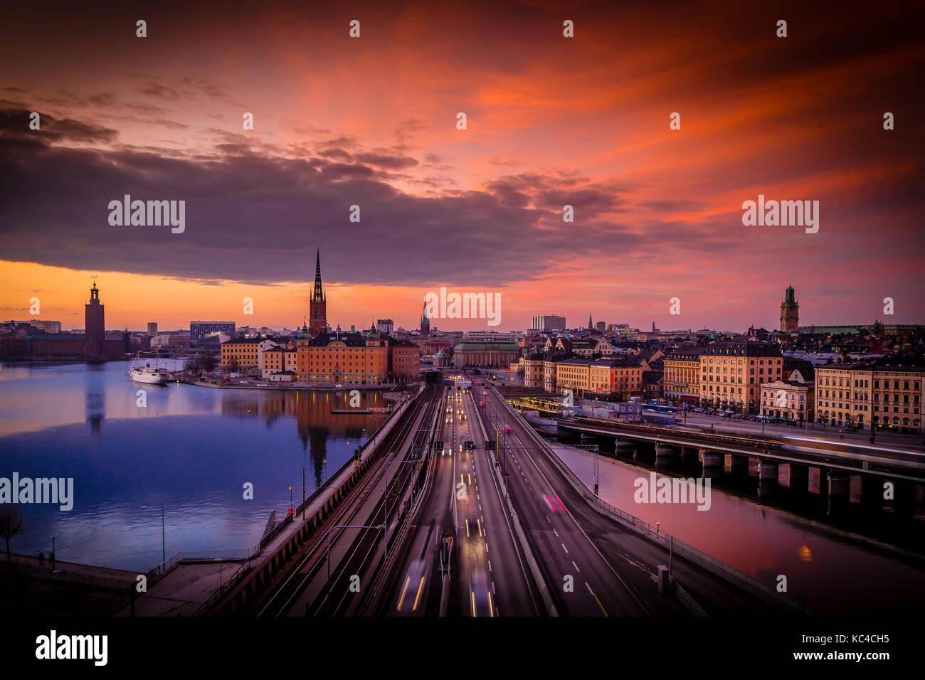 Estocolmo Sunset, Suecia, Foto de stock