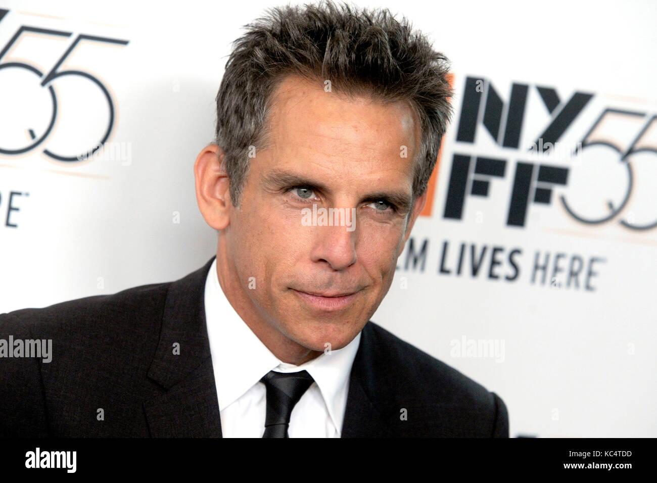 Ben Stiller asiste a 'Las historias de meyerowitz' estreno durante el 55º Festival de Cine de Nueva Imagen De Stock