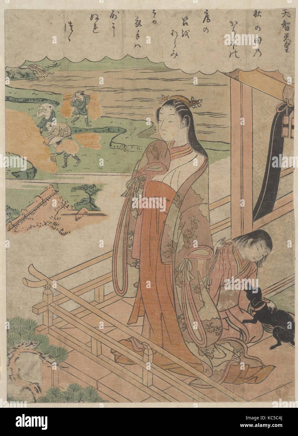 天智天皇 百人一首, simpatía, del período Edo (1615-1868), ca. 1768, Japón, grabado en madera policromada; Imagen De Stock