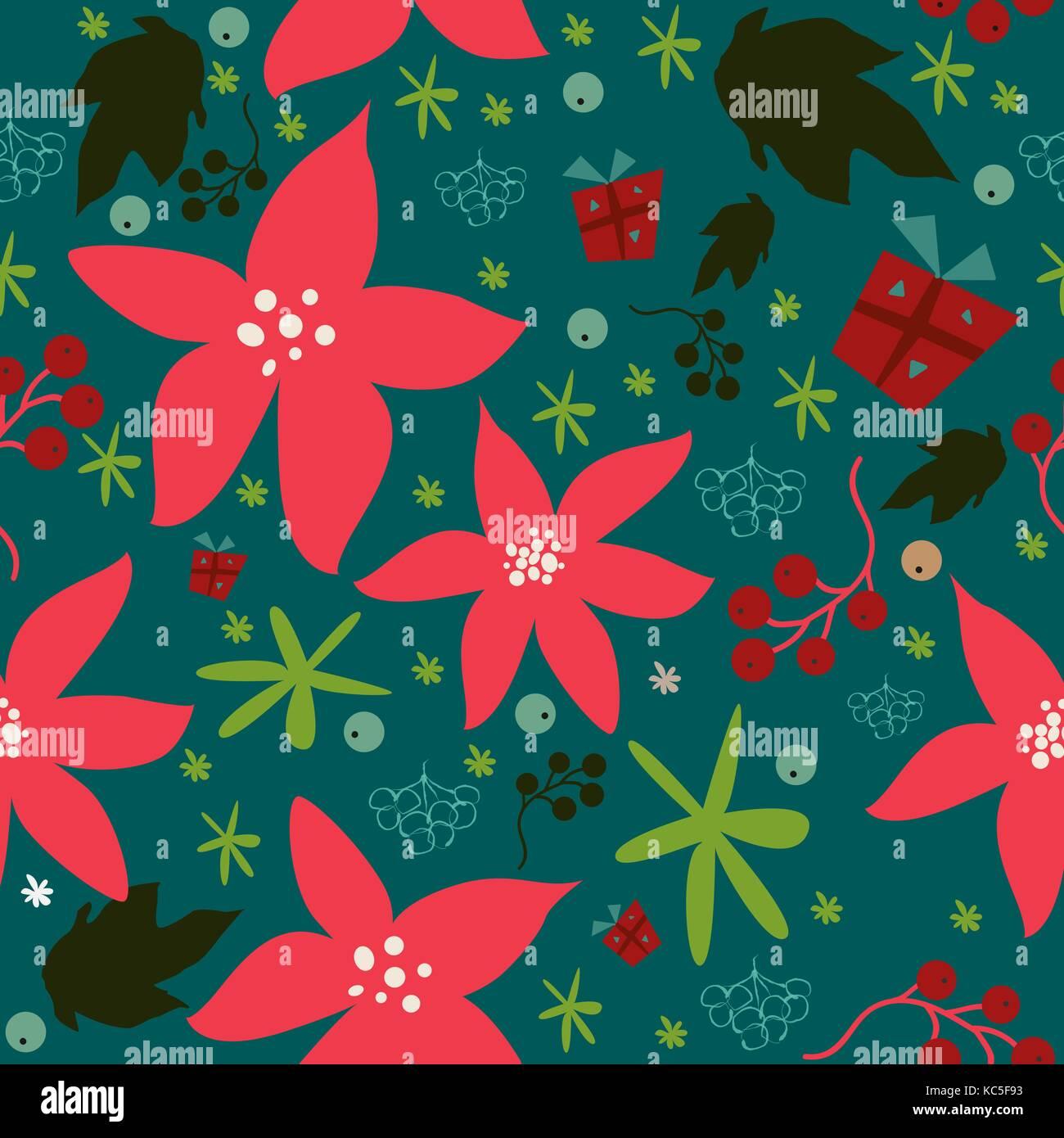 Seamless patrón floral de poinsettia dibujados a mano, las bayas ...