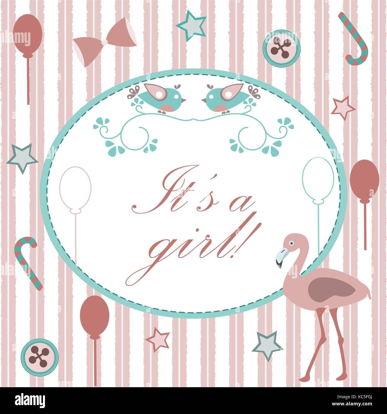 e3b3ff5eef9d1 Anuncio de nacimiento de bebé niña. Tarjeta de invitación de baby shower.  cute pink