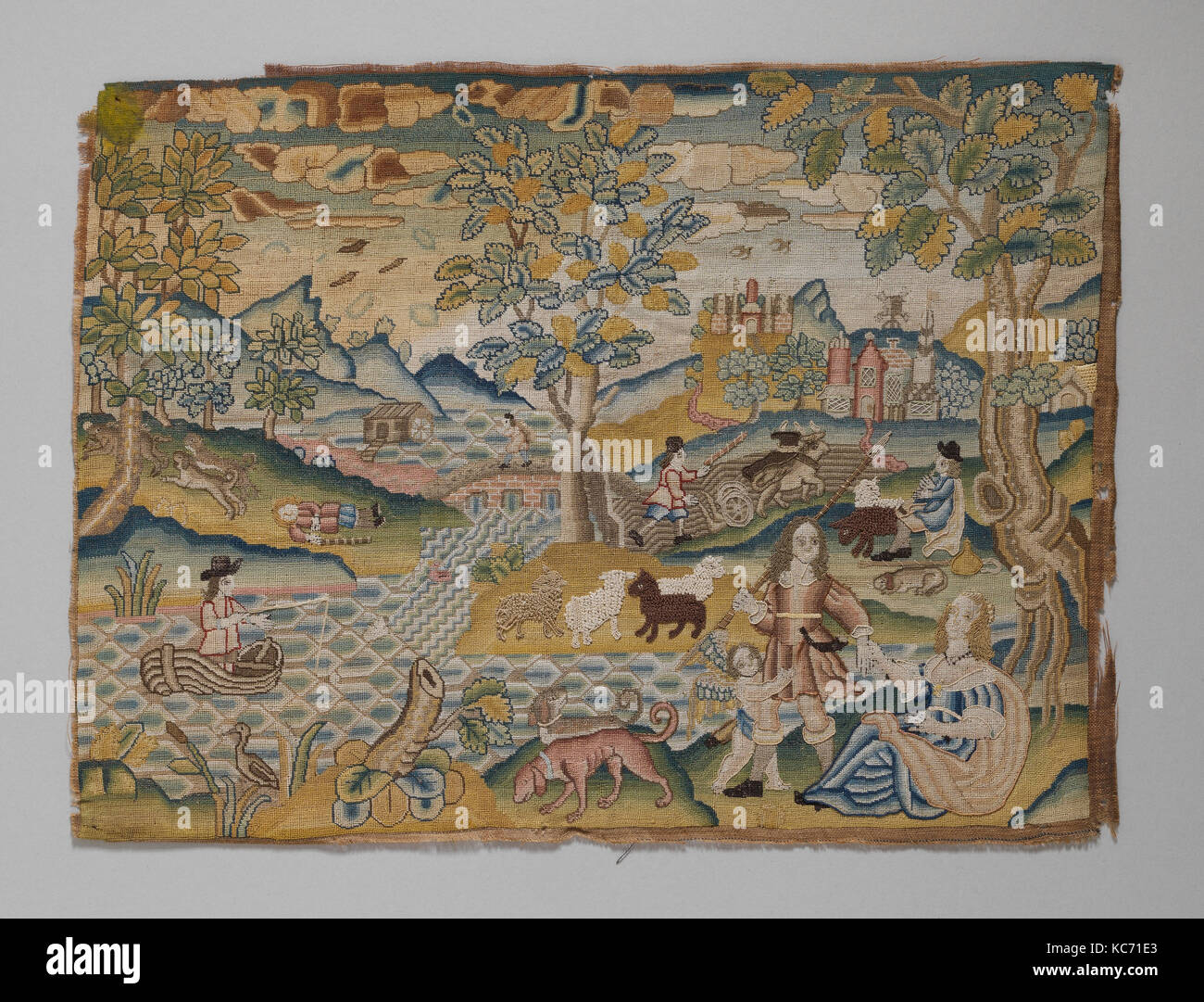 Amantes con amor, de mediados del siglo xvii, británicos, Canvas trabajó con hilo de seda, mica; carpa, Imagen De Stock