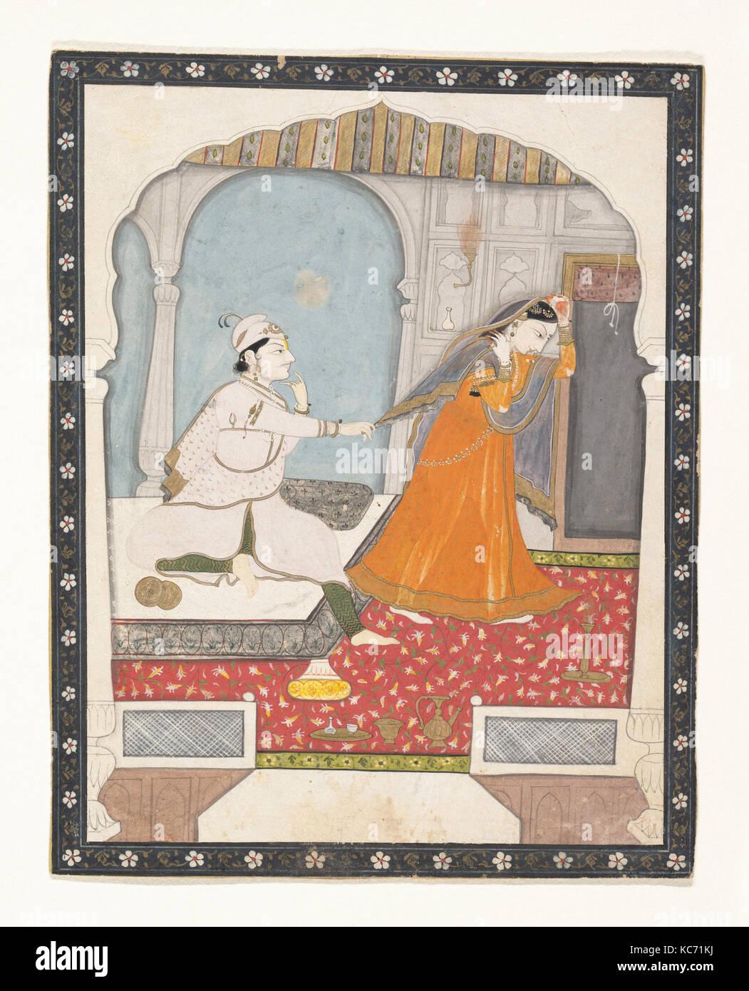 La tímida novia, ca. 1800, India (Punjab Hills, kangra), tinta, acuarela opaca y doradas sobre papel, 7 1/4 Imagen De Stock