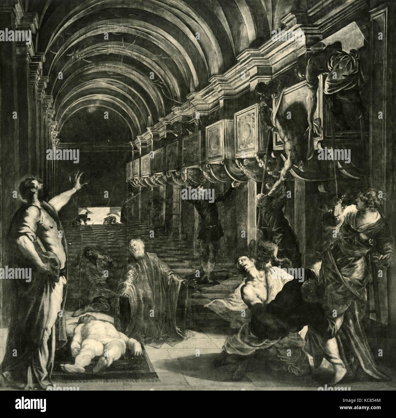 El hallazgo de los restos de san Marcos, la pintura de Jacopo ...