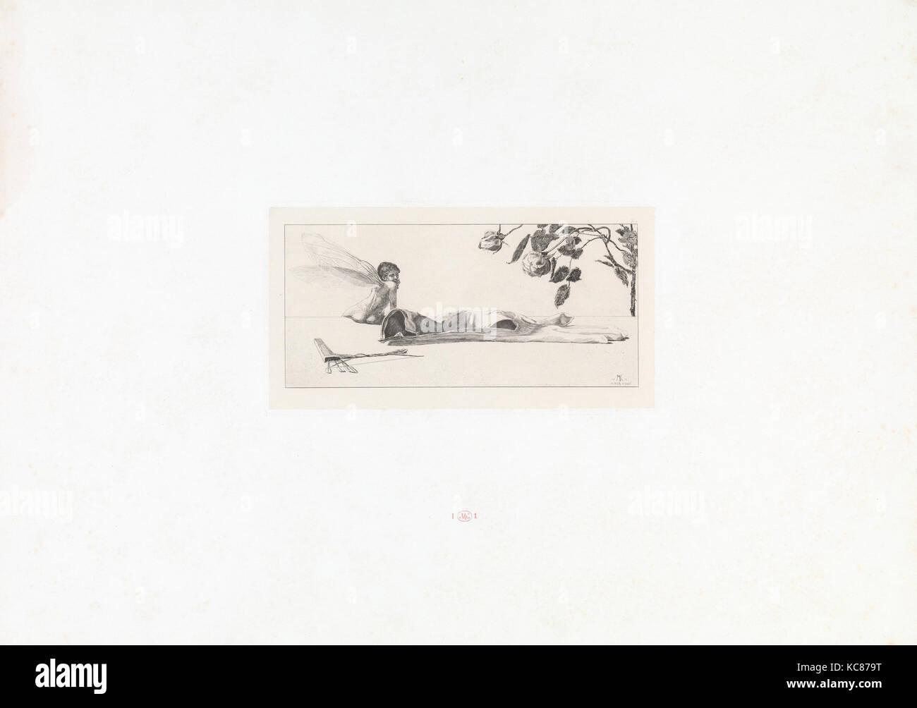 Amor (Cupido) de Ein Handschuh (un guante). Cyclus von zehn Compositionen radirt. Rad. Opus VI, Placa X. Primera Imagen De Stock