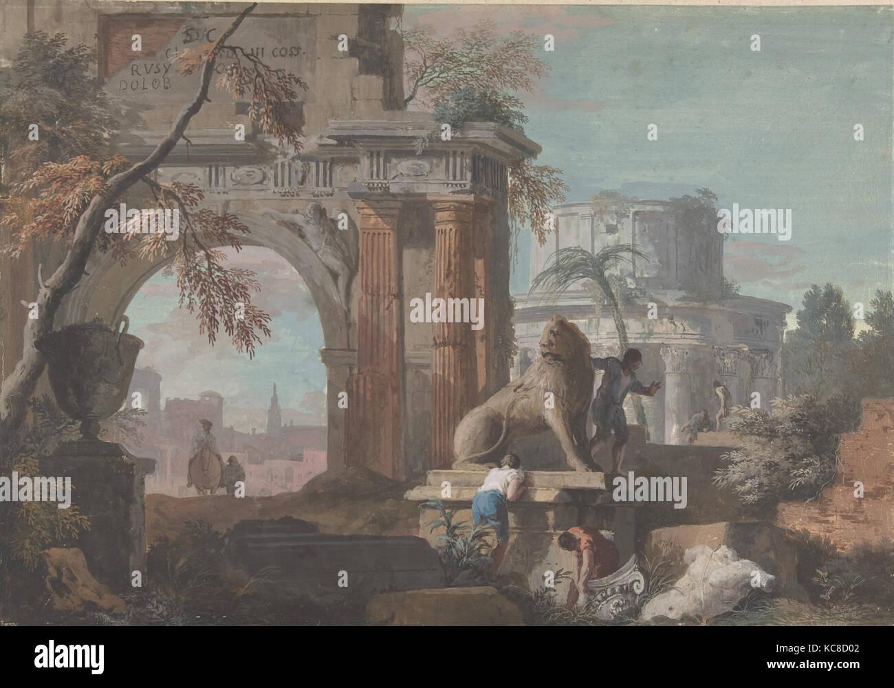 Capriccio con ruinas romanas, 1676-1730, Gouache sobre Papel, 12-1 ...