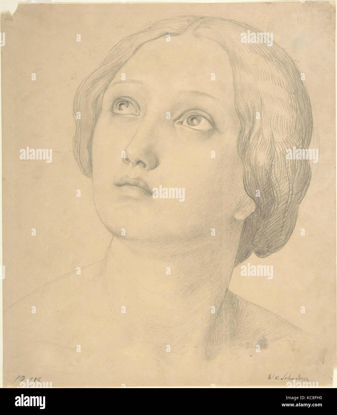 Cabeza de una mujer mirando hacia arriba, Wilhelm Schadow, 1800-1862 Foto de stock