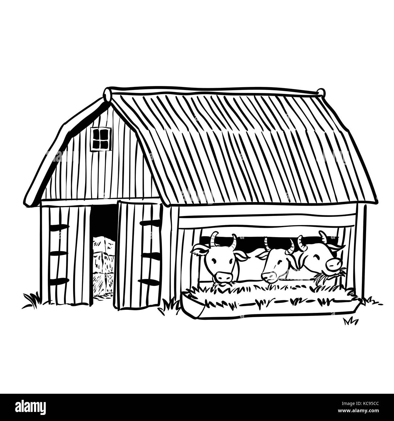 Dibujo A Mano Alzada Establo Con Tres Vacas Lecheras