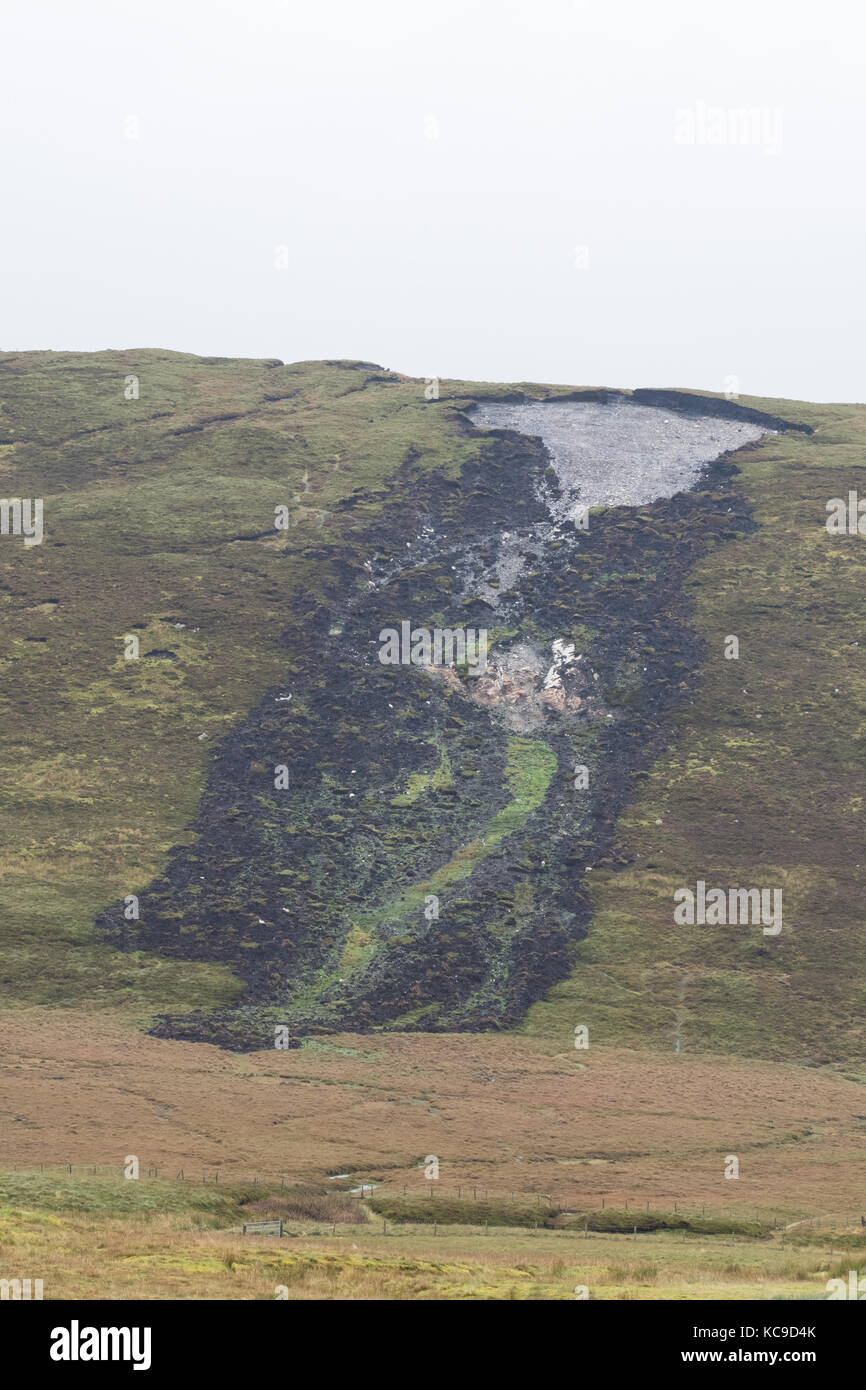 La turba de deslizamientos o diapositivas bog burst, Shetland Mainland, Islas Shetland (Escocia, Reino Unido) Imagen De Stock