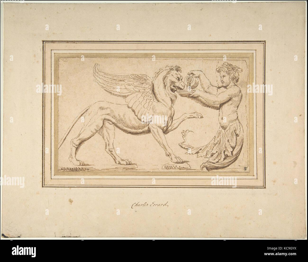 Amor Foliate verter una bebida a Griffin, Charles Errard Le fils, siglo xvii Imagen De Stock