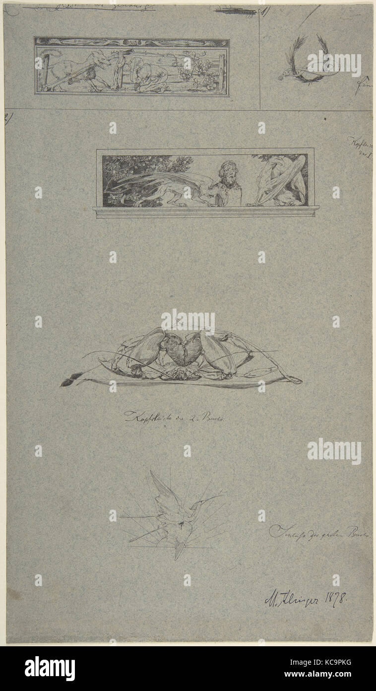 Estudios de cintillos y viñetas en el libro, Amor und psique (Opus V), Max Klinger, 1878 Imagen De Stock