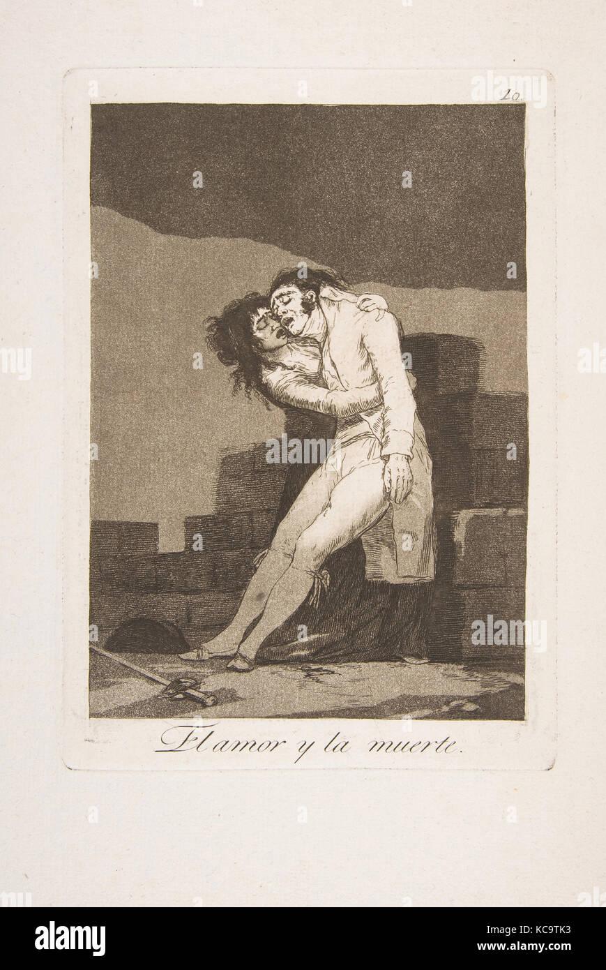 Placa a 10 de 'Los Caprichos': el amor y la muerte (El amor y la muerte), Goya, 1799 Imagen De Stock