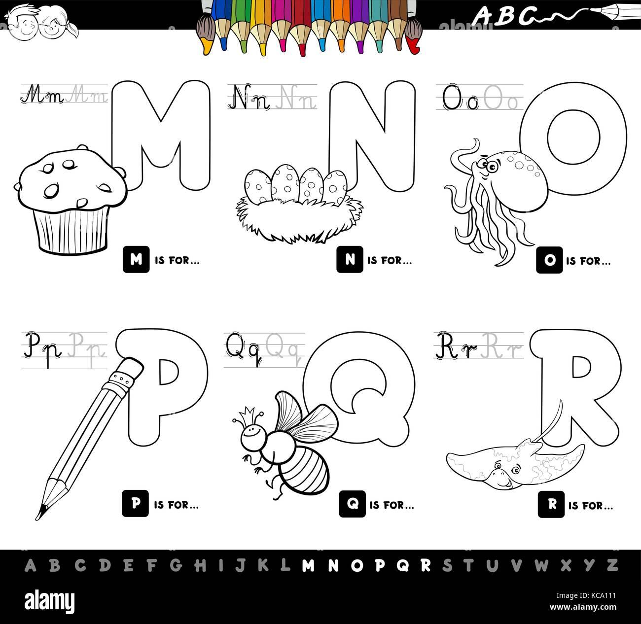 Ilustración caricatura en blanco y negro de las letras mayúsculas ...
