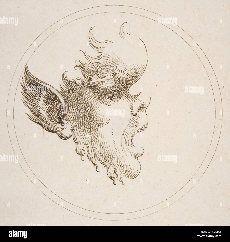 Grotesca cabeza con un abultamiento en la frente mirando a la derecha dentro de un círculo, Gaetano Piccini, 1727 Foto de stock