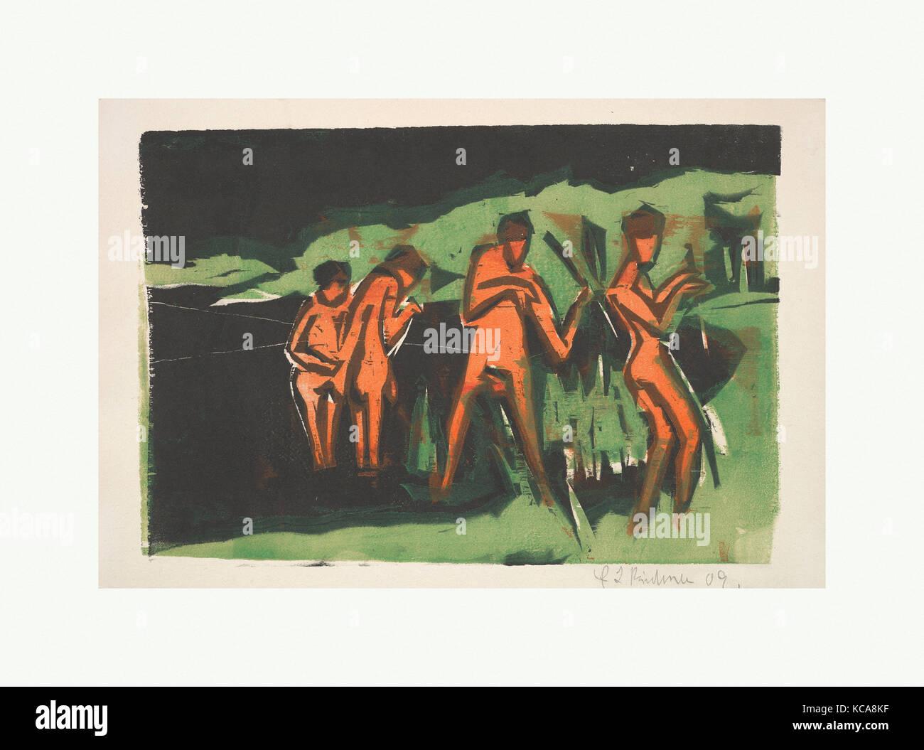 Los bañistas arrojando Juncos, Ernst Ludwig Kirchner, 1909 Foto de stock