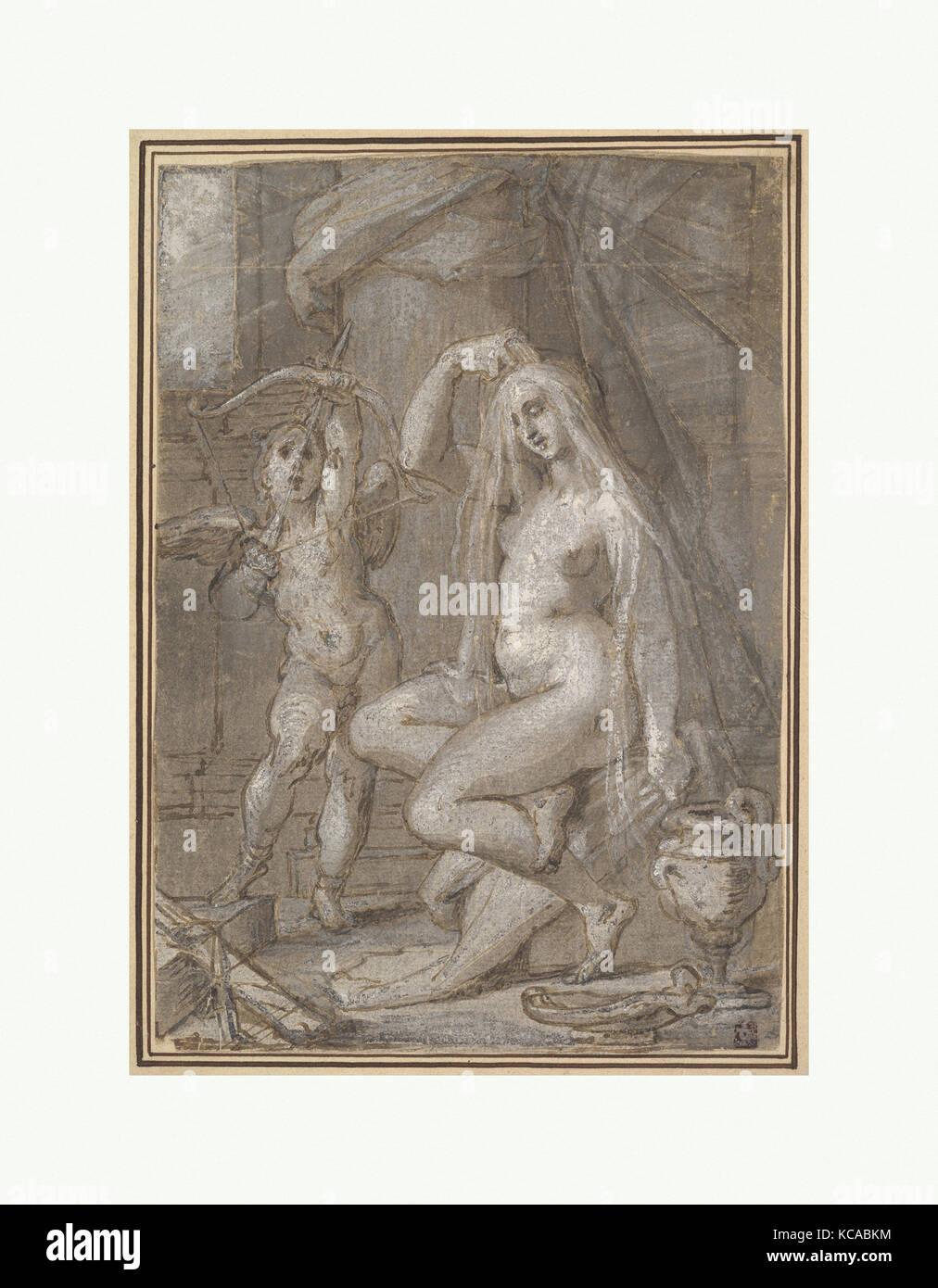 Venus y Amor, ca. 1585, Lápiz y tinta marrón, marrón claro y oscuro y gris, lavar, acentuado con Imagen De Stock