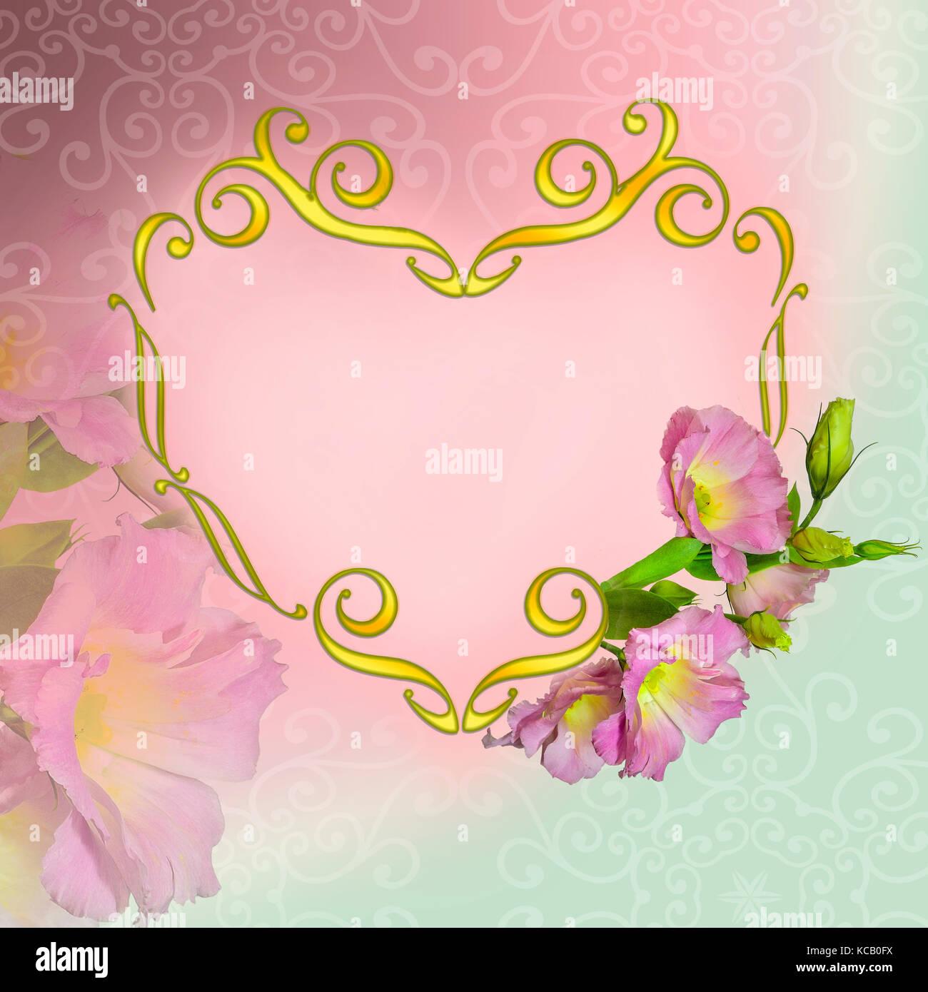 La elegancia marco floral en forma de corazón de oro gira y rosa ...