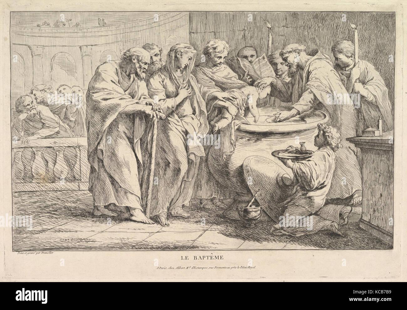 El bautismo, ca. 1734, aguafuerte, estado II/II, Hoja: 13 1/4 x 19 1/16 in. (33,7 x 48,4 cm), imprime, Pierre Charles Trémolières Foto de stock